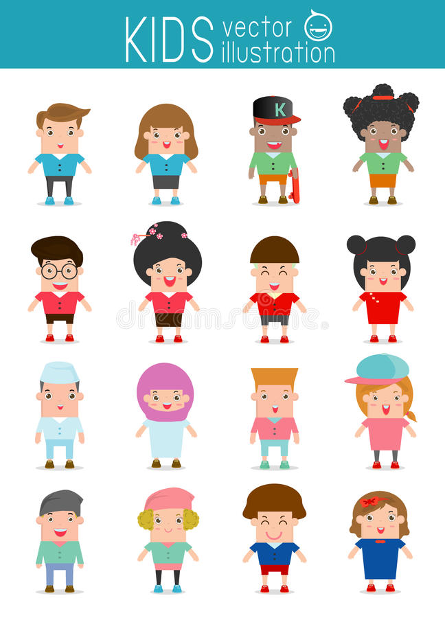 Uppsättning av olika ungar på vit bakgrund folktecken, olika nationaliteter och klänningstilar ungeeuropé, Ame royaltyfri illustrationer