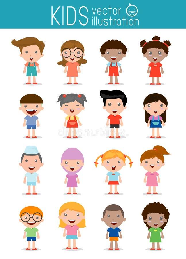 Uppsättning av olika ungar som isoleras på vit bakgrund Olika nationaliteter och klänningstilar vektor illustrationer