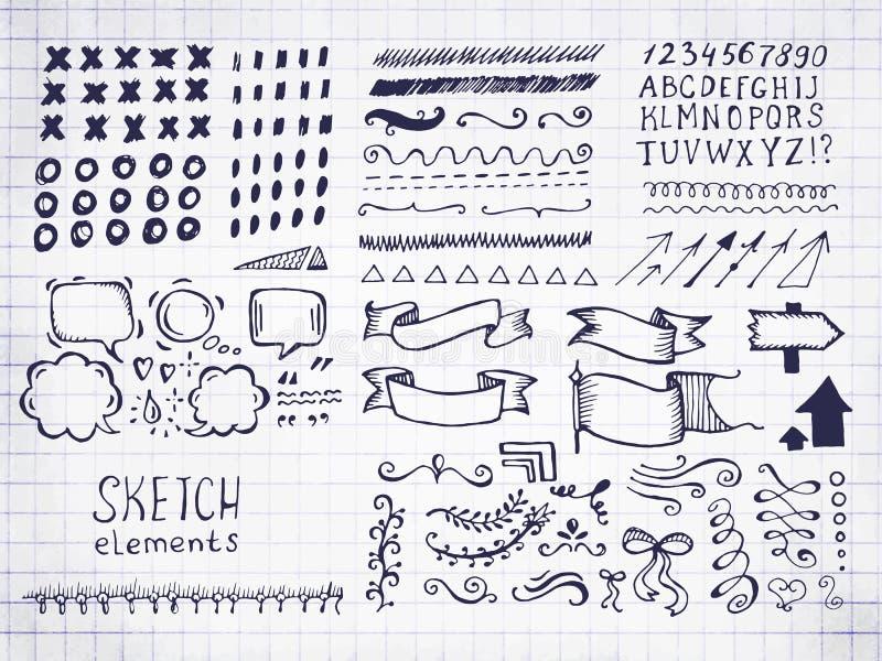 Uppsättning av olika vektorbeståndsdelar i klotterstil stock illustrationer
