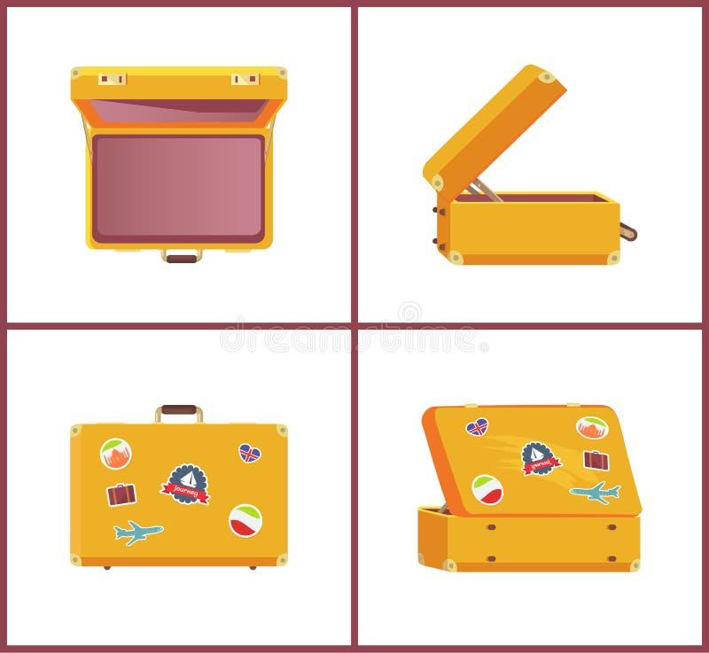 Uppsättning av olika vinkelminnen för Retro resväskor vektor illustrationer