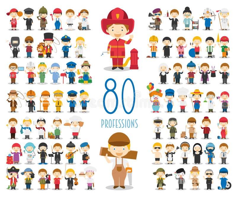 Uppsättning av 80 olika yrken i tecknad filmstil stock illustrationer