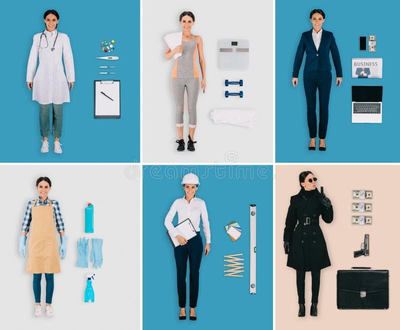 uppsättning av olika yrken: kvinnlig doktor, idrottskvinna, rengöringsmedel, byggmästare, affärskvinna royaltyfri bild