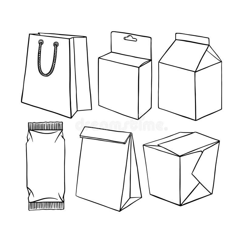 Uppsättning av olikt förpacka royaltyfri illustrationer