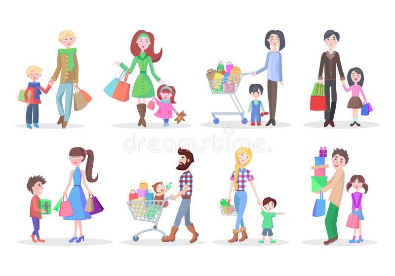 Uppsättning av olikt köpandefolk på vit bakgrund stock illustrationer