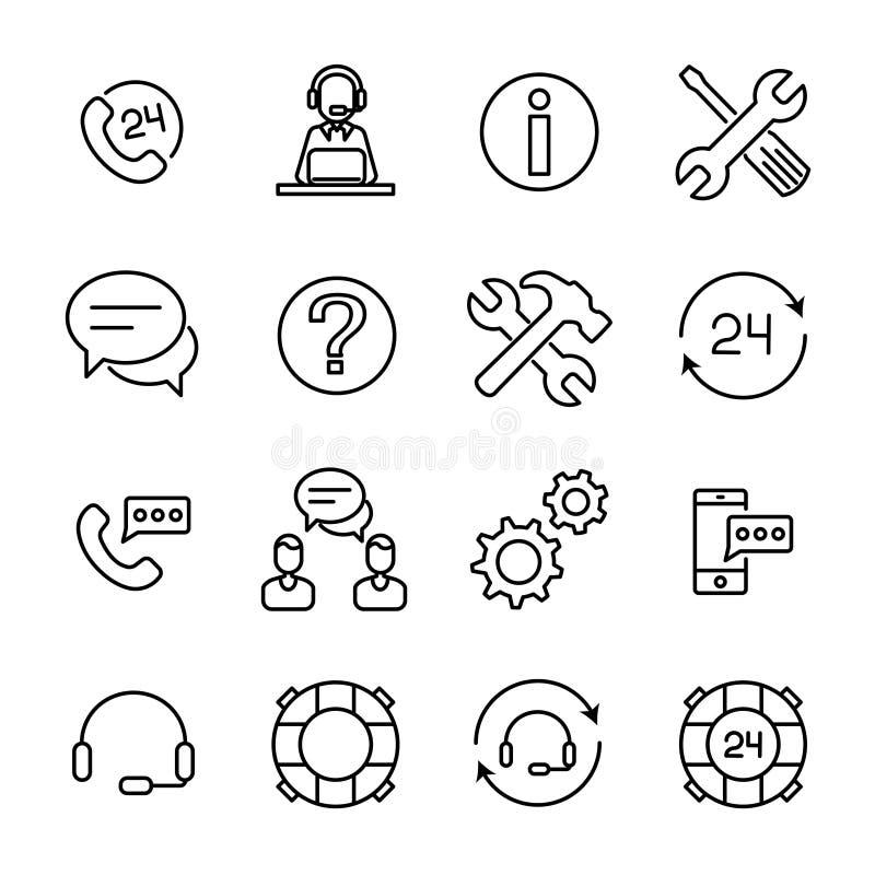 Uppsättning av online-servicesymboler i den moderna tunna linjen stil royaltyfri illustrationer