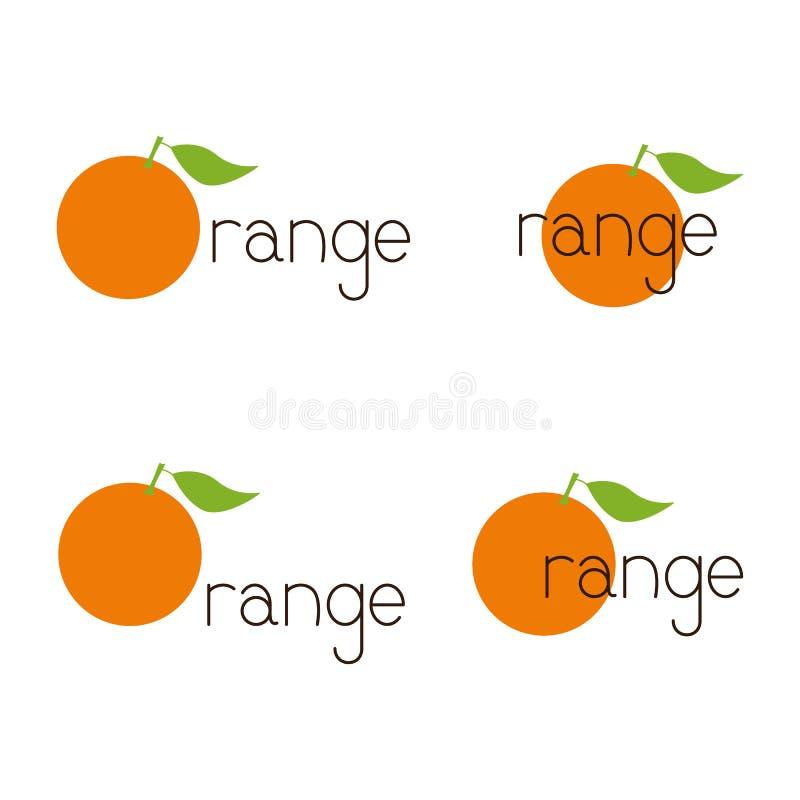 Uppsättning av orange logoer vektor illustrationer