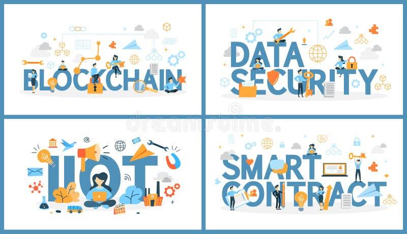 Uppsättning av ordet för digital teknologi med folk royaltyfri illustrationer