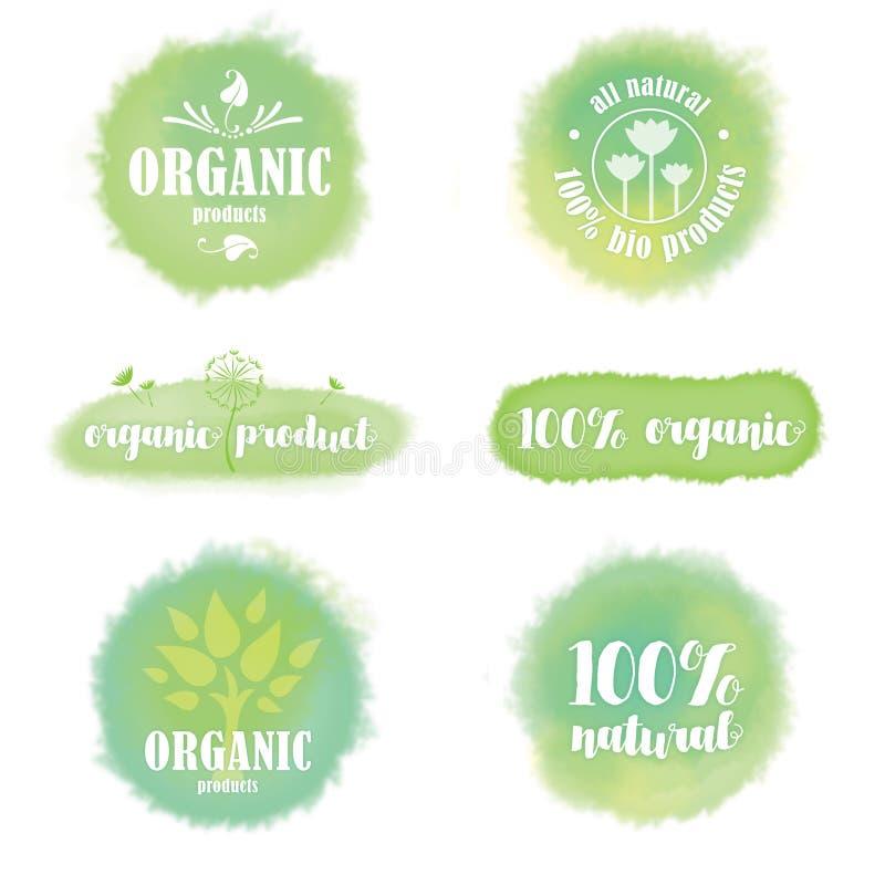 Uppsättning av organiska logoer och emblem på akvarellbakgrund arkivbild