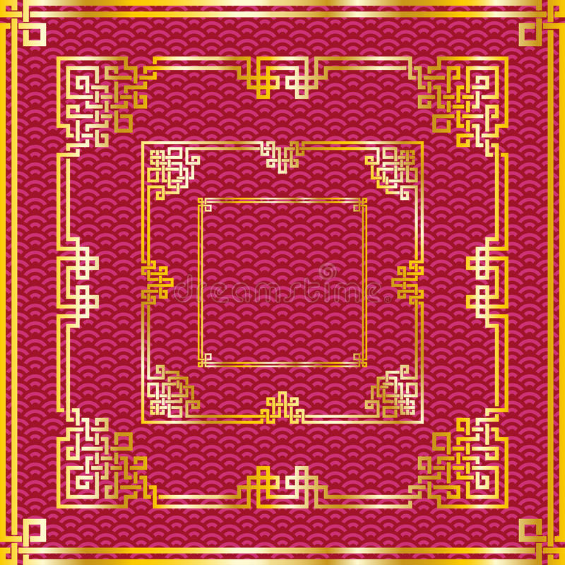 Uppsättning av orientaliska kinesiska guld- fyrkantramar på röd baksida för modell royaltyfri illustrationer
