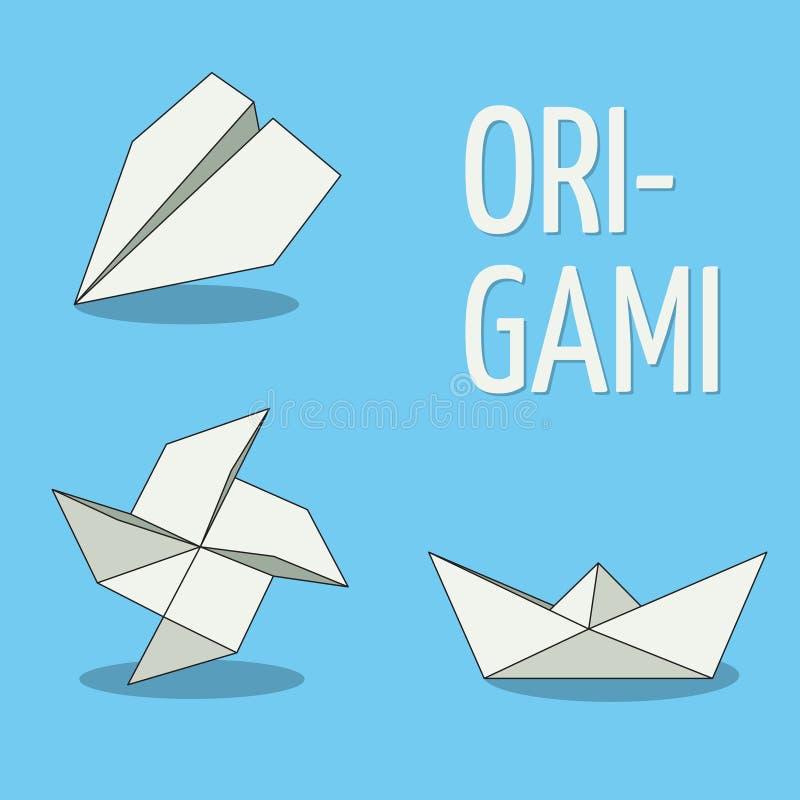 Uppsättning av origamiobjekt Vit på blå bakgrund Nivå, liten sol och fartyg royaltyfri illustrationer