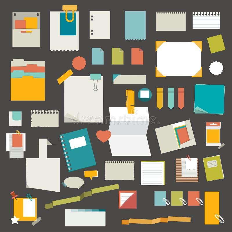 Uppsättning av påminnelser, pappers- klistermärkear, arbetskontorshjälpmedel, mappar vektor illustrationer