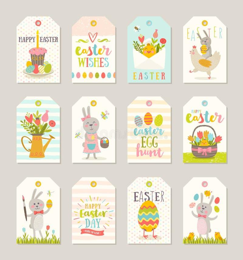 Uppsättning av påsketiketter och etiketter med tecknad filmtecken och hälsningar stock illustrationer