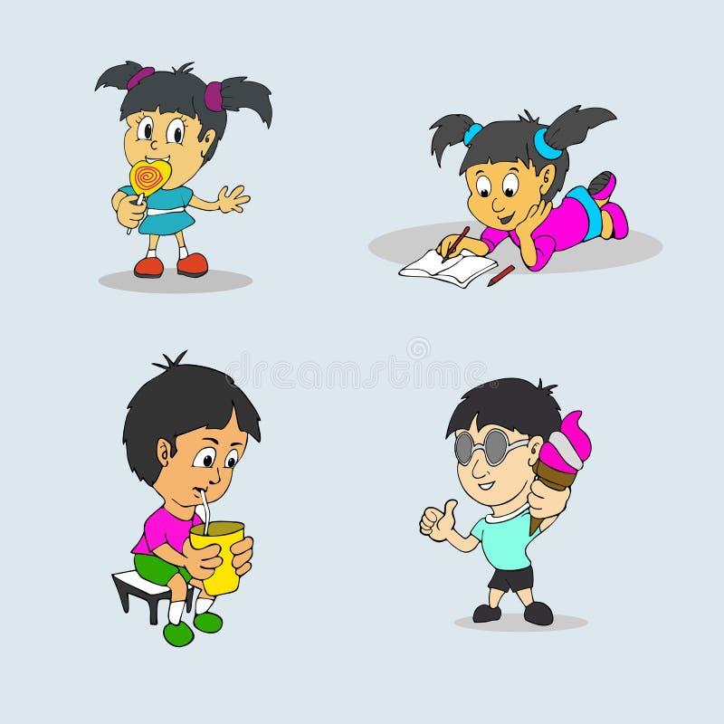 Uppsättning av packen för vektor för barnaktivitetsrutiner royaltyfri illustrationer