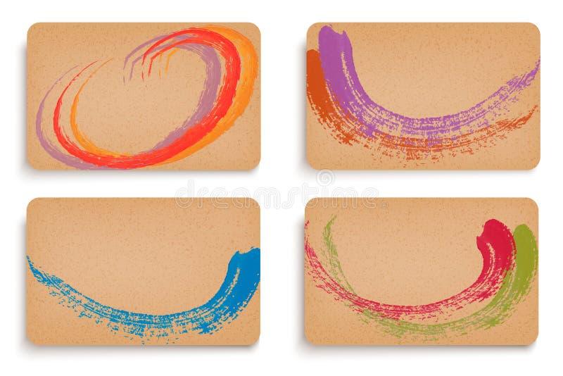 Uppsättning av pappbaner som dekoreras med målarfärg vektor illustrationer