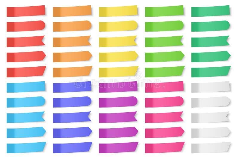 Uppsättning av pappers- klistermärkear för vektor vektor illustrationer
