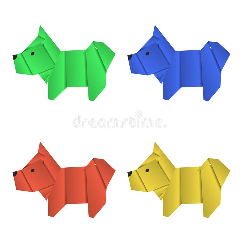 Uppsättning av pappers- origamihundkapplöpning Symbol av året 2018 stock illustrationer