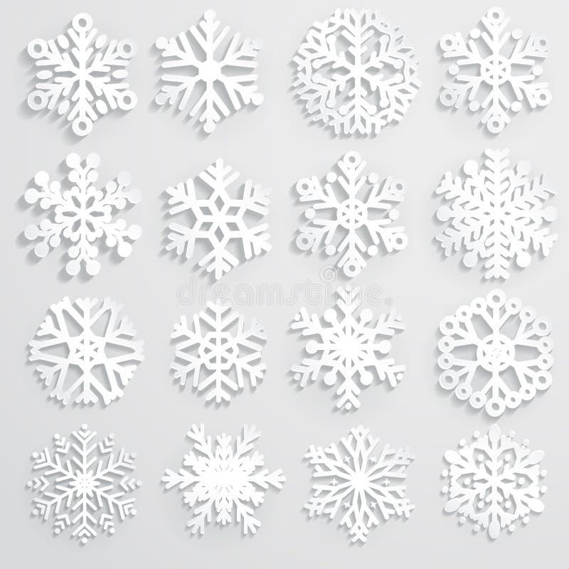 Uppsättning av pappers- snöflingor stock illustrationer