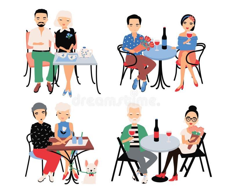Uppsättning av par på romantiskt datum Unga moderiktiga vänner på tabellen i kafé Grabben och flickan sitter i omfamning, rymmer  vektor illustrationer