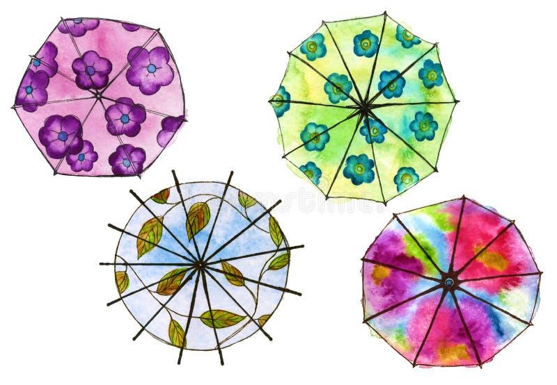 Uppsättning av paraply fyra isolerat vattenfärg vektor illustrationer