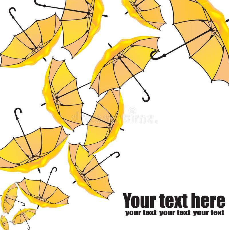 Uppsättning av paraplyer på vit vektor illustrationer