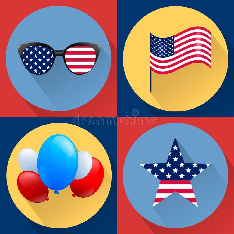 Uppsättning av patriotiska vektorer som är hängivna till fjärdedelen av juli Självständighetsdagen USA royaltyfri illustrationer