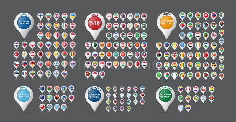 Uppsättning av pekare för en översikt med länder och contin för flaggor allra royaltyfri illustrationer