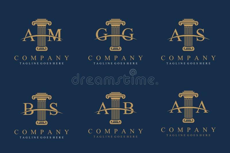 Uppsättning av pelaren Logo Design royaltyfri illustrationer