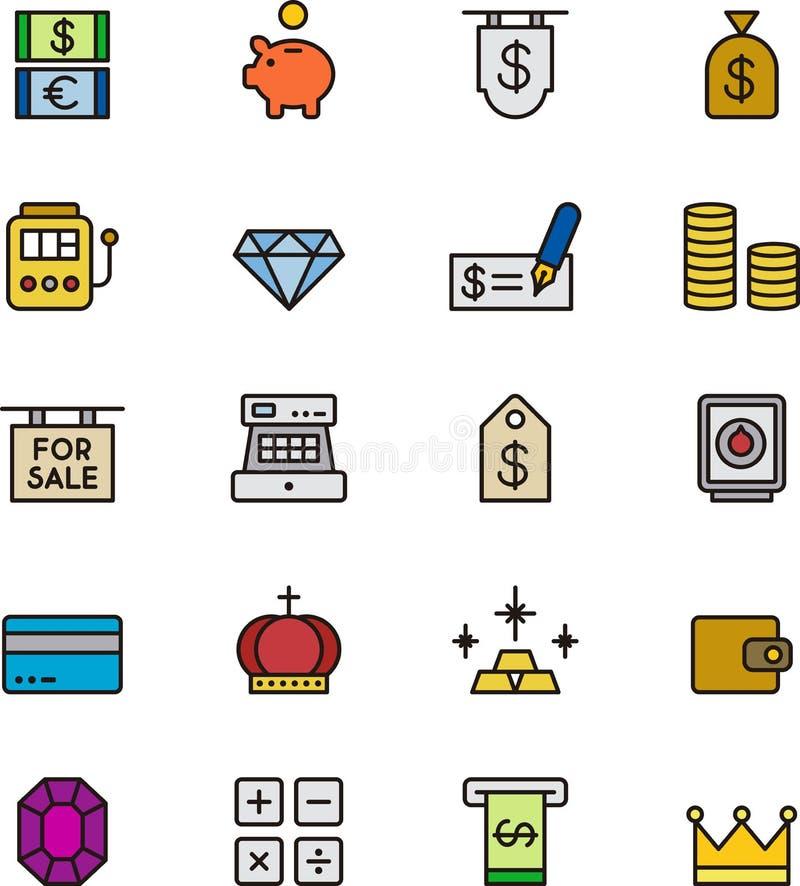Uppsättning av pengar- och banksymboler vektor illustrationer