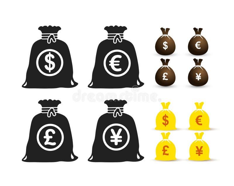 Uppsättning av pengarpåsedollaren, euro, pund, yensymbol också vektor för coreldrawillustration bakgrund isolerad white royaltyfri illustrationer