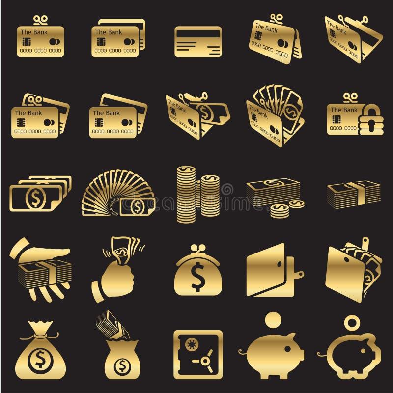 Uppsättning av pengarsymboler royaltyfri illustrationer