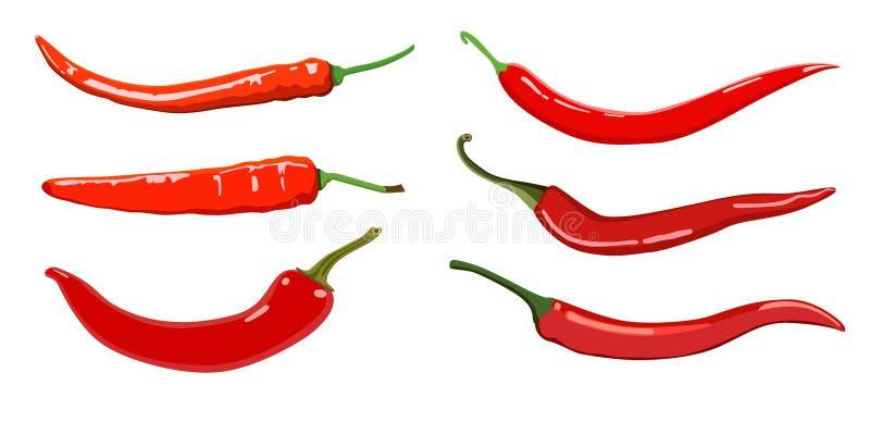 Uppsättning av peppar för varm chili vektor illustrationer