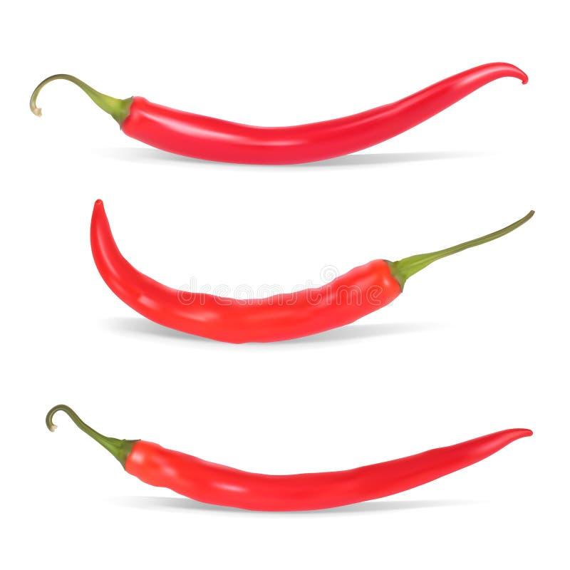 Uppsättning av peppar för varm chili. vektor illustrationer