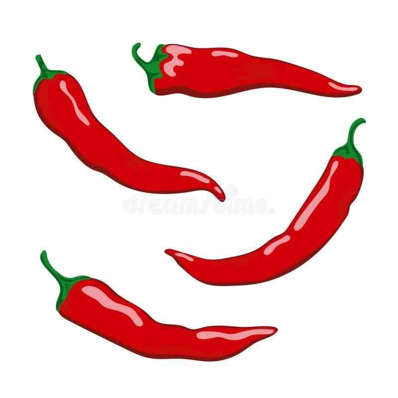 Uppsättning av peppar för varm chili som isoleras på vit bakgrund stock illustrationer