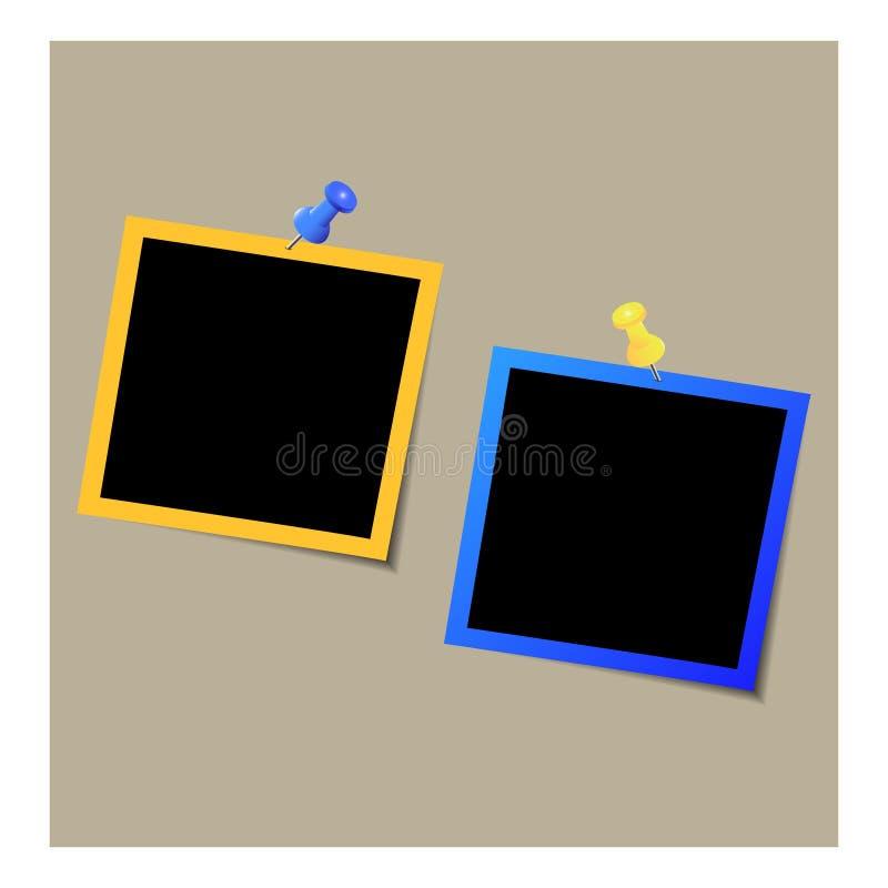 Uppsättning av photoframes med färgben på den bruna bakgrunden vektor illustrationer