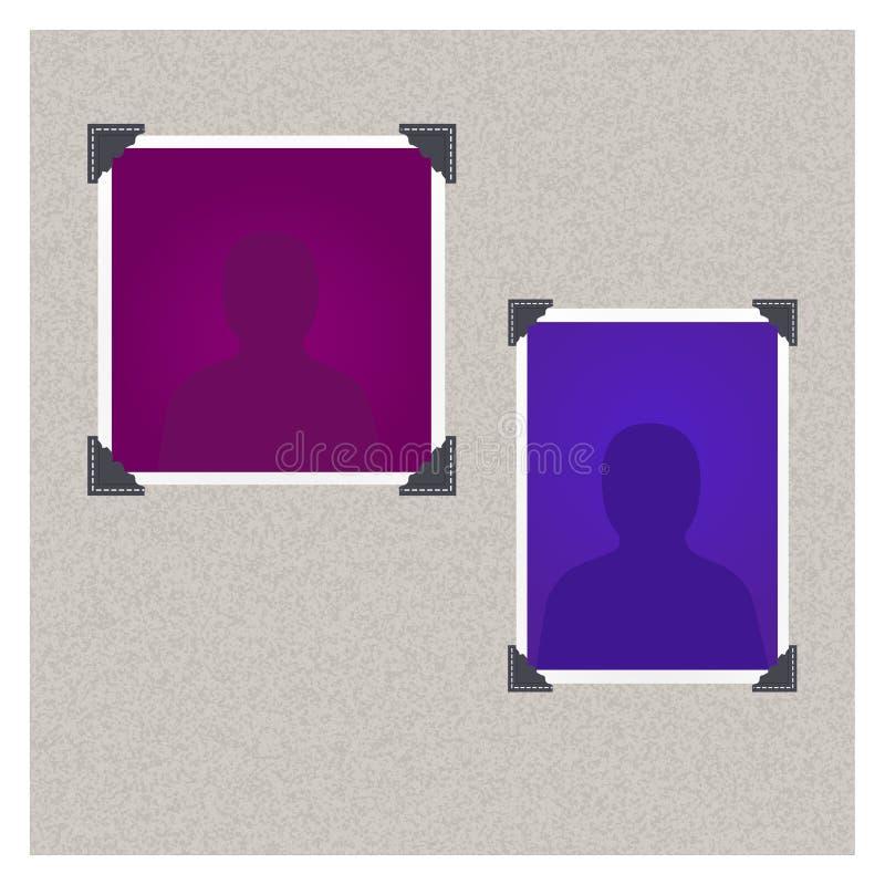 Uppsättning av photoframes med konturn på en grå bakgrund stock illustrationer