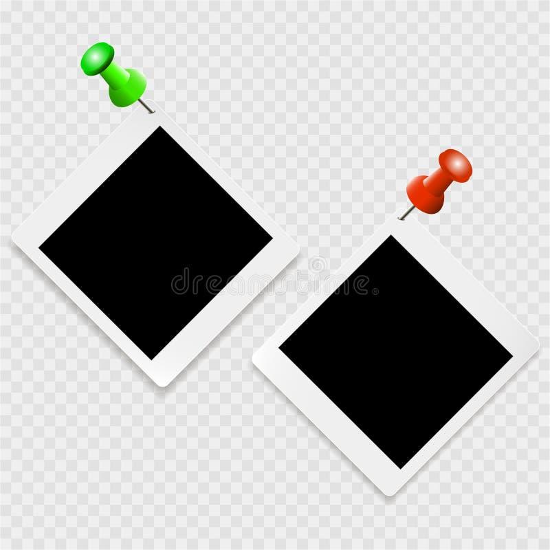 Uppsättning av photoframes med vita kontur- och färggem på en genomskinlig bakgrund royaltyfri illustrationer