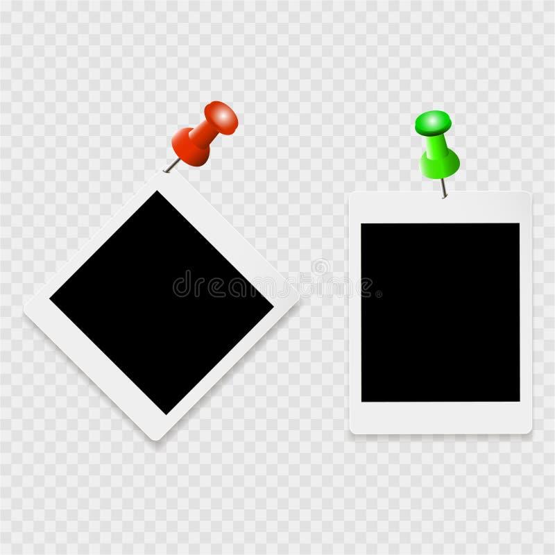 Uppsättning av photoframes med vita kontur- och färggem på en genomskinlig bakgrund vektor illustrationer