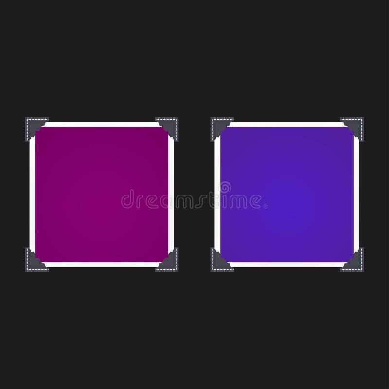 Uppsättning av photoframes på den svarta bakgrunden vektor illustrationer