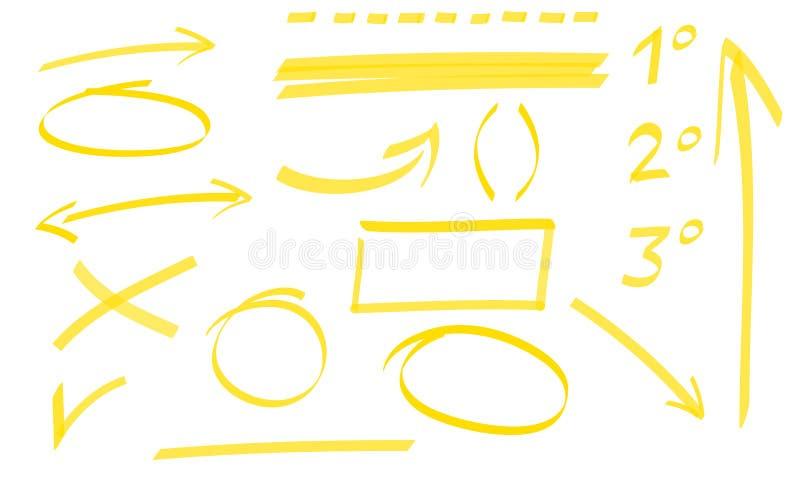 Uppsättning av pilar, cirklar och understrykning stock illustrationer