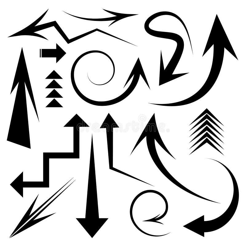 Uppsättning av pilsymboler vektor illustrationer