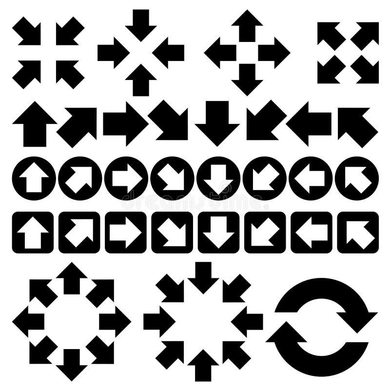 Uppsättning av pilvektorn royaltyfri illustrationer