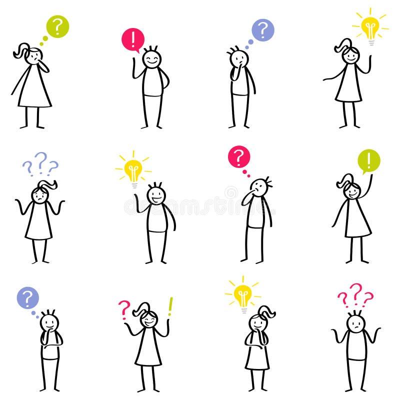 Uppsättning av pinnediagram, pinnefolk som tänker, grubbla, män och kvinnor, korkat, frågor och svar och att ha idéer royaltyfri illustrationer