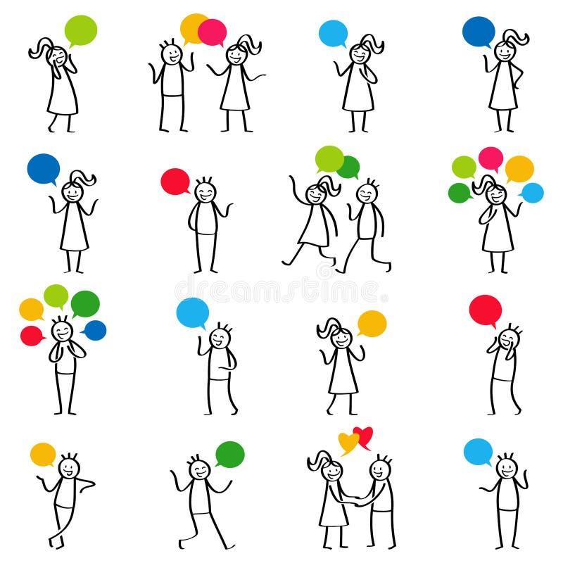 Uppsättning av pinnediagram, pinnefolk som talar och att tala och att ha konversationer, män och kvinnor som ler och gör en gest vektor illustrationer