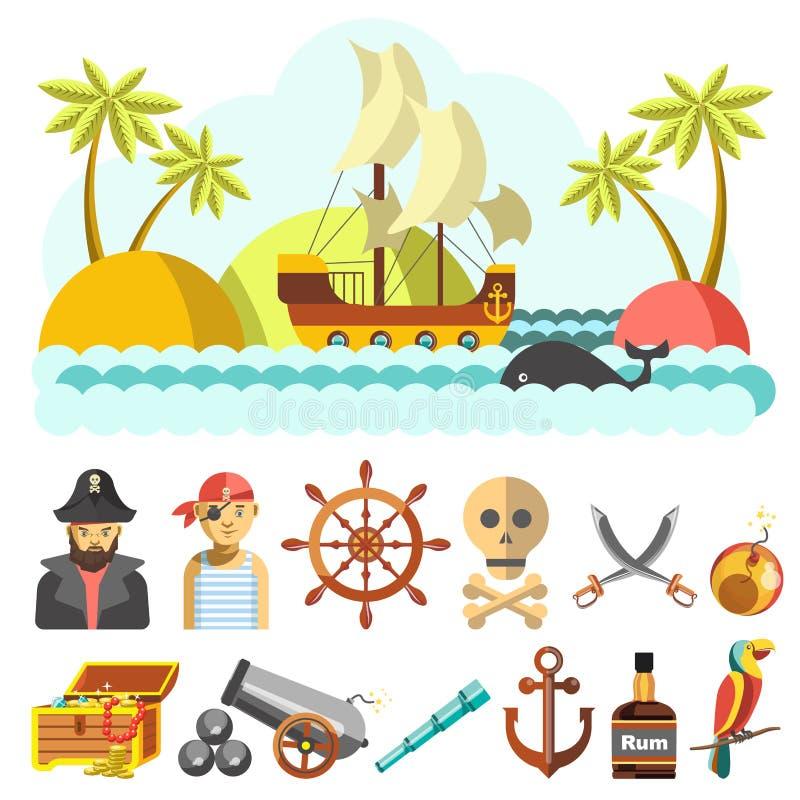 Uppsättning av piratical vektorsymboler vektor illustrationer