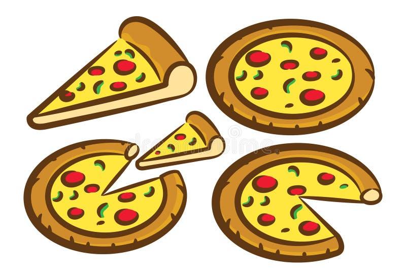 Uppsättning av pizzasymbolen stock illustrationer