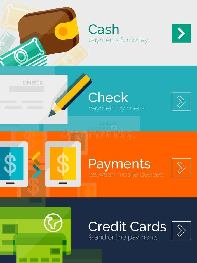 Uppsättning av plan betalning för designbegrepp direktanslutet royaltyfri illustrationer