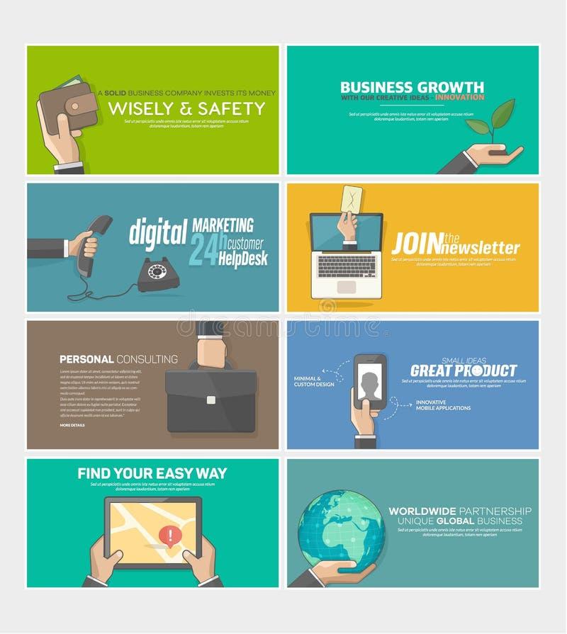 Uppsättning av plana baner för rengöringsdukinfographicsbegrepp för website för affärsföretag, tryckmallar stock illustrationer