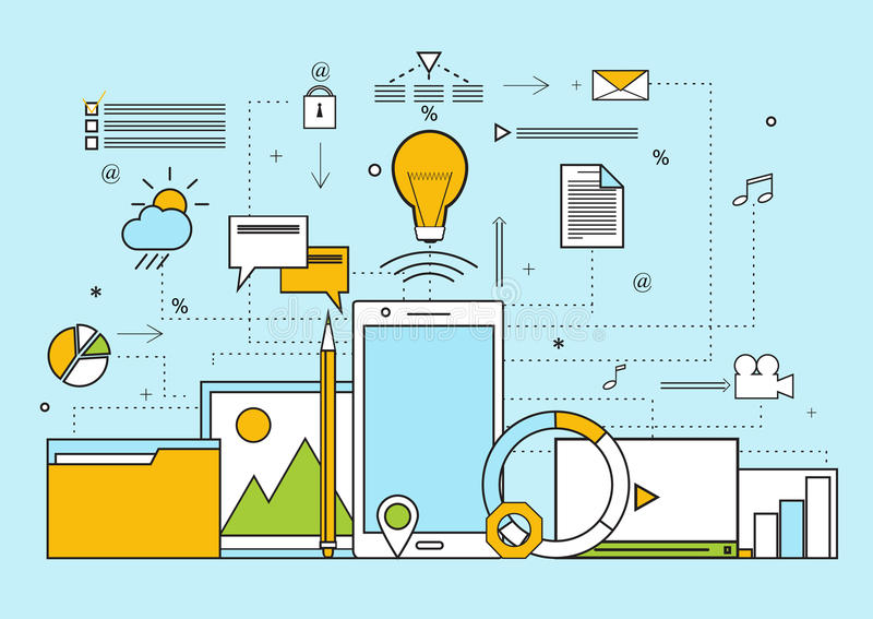 Uppsättning av plana beståndsdelar för det idérika processbegreppet, idé stock illustrationer