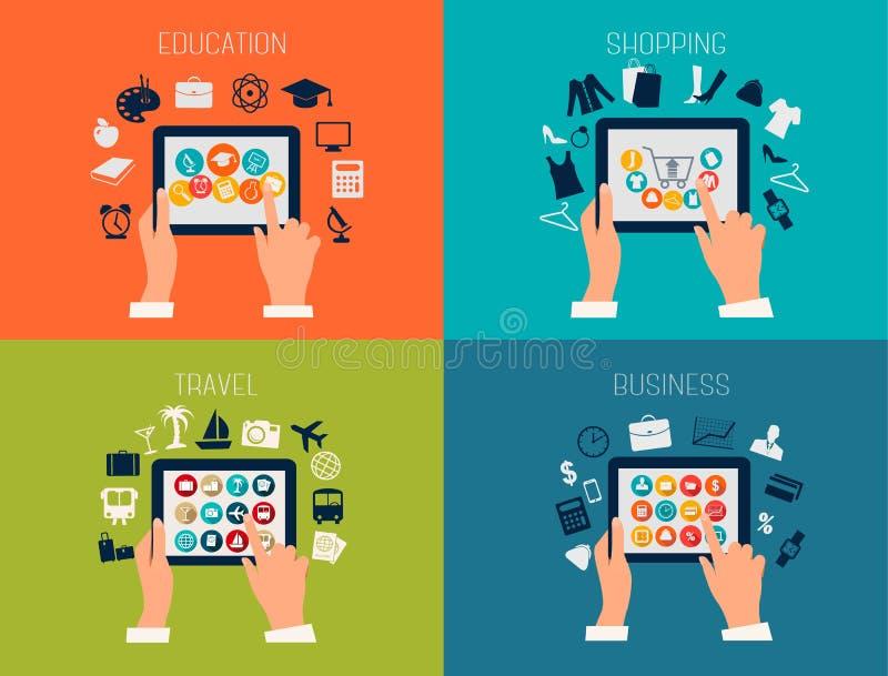 Uppsättning av plana designbakgrunder för utbildning, affär, lopp stock illustrationer
