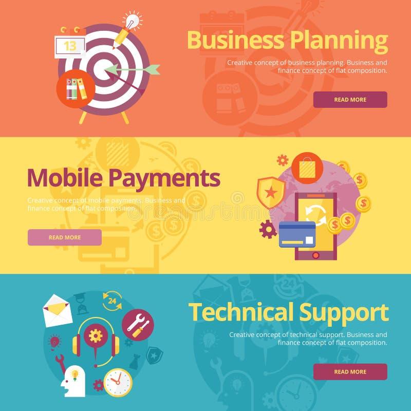 Uppsättning av plana designbegrepp för affärsplanläggning, mobila betalningar, teknisk service royaltyfri illustrationer